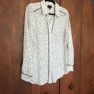 B+W Polka Dot Who What Wear blouse Medium